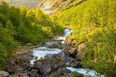 Beautiful mountain river near Trollstigen in Norway, Scandinavia 写真素材