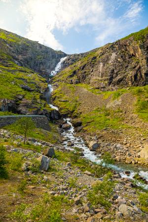 Stigfossen waterfall on Trollstigen road in Norway Stockfoto