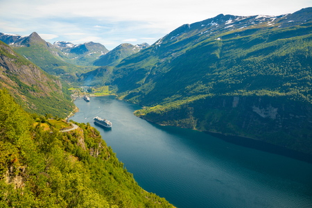 Geiranger fjord from mountain viewpoint, Geirangerfjord, Norway Stock Photo