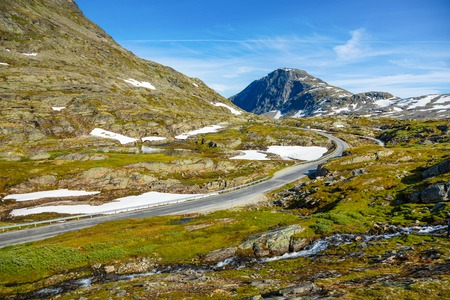 Aerial view of mountain and road to Dalsnibba, spring landscape in Norway Stock Photo