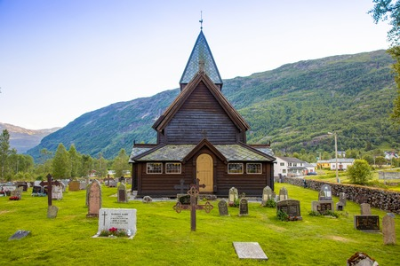 Roldal, Norway - 27.06.2018: Wooden Roldal stave church or Roldal stavkyrkje in Norway Editorial