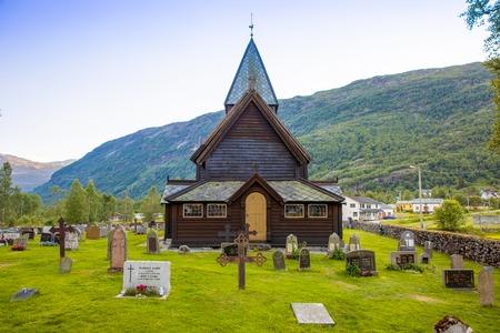 Roldal, Norway - 27.06.2018: Wooden Roldal stave church or Roldal stavkyrkje in Norway Éditoriale