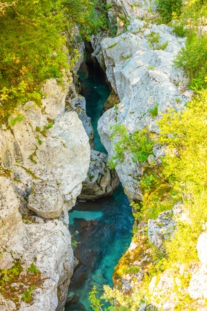 Velika Korita is canyon of Soca river in Soca valley in Slovenia