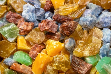Closeup shot of colorful calcite crystals, geological background