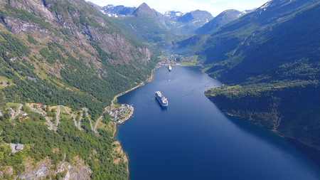 Aerial view of Geiranger fjord in Norway