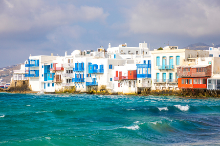 Famous Mykonos town colorfull little venice, Mykonos island, Cyclades in Greece