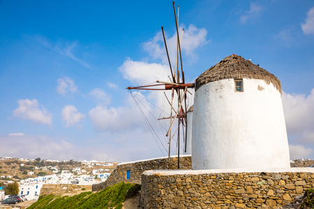 Windmill on a hill near the sea on the island of Mykonos in Greece Banco de Imagens