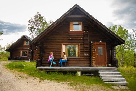 Palojarvi, Finland - 26.06.2018: Finnish Wild hut in national park is place for travelers in camping site in Finland