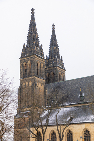Neo Gothic Basilica of St Peter and St Paul in Vysehrad fortress in Prague in Czech republic