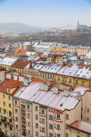 View of Prague streets and Vysehrad hill in Praha 2 district from Nusle bridge in winter in Czech republic Stock Photo