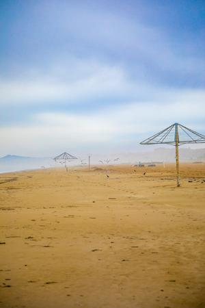 Sandy beaches of Rimini in winter in Italy