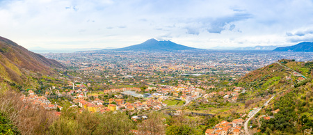Panorama of volcano Vesuvio and Pompei in the evening in Italy Stock Photo