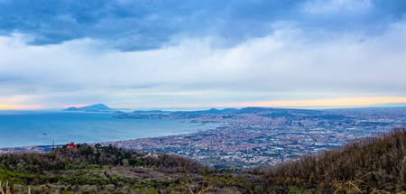 View from active volcano Vesuvius on the Gulf and Naples city in evening in Italy Foto de archivo - 119248585