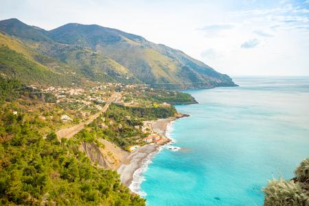 Aerial view of Acquafredda village on coast sud in winter in Italy