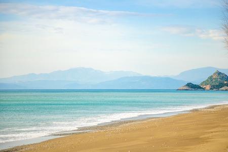 Maiori beach in winter on the Amalfi coast in Italy Foto de archivo - 119249794