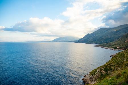 View of mountains and blue sea in the Italian natural reserve or Riserva dello Zingaro in Sicily in Italy Foto de archivo - 119249820