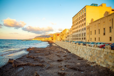 View of seaside of the sicilian city Trapani during sunset in Italy Foto de archivo - 119249822