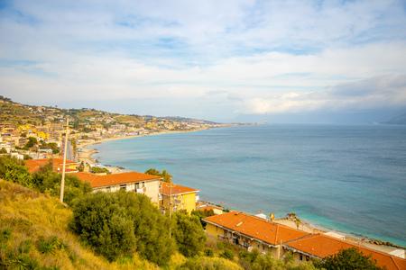 Sea view from Messina part of Trapani in Sicily, Italy Foto de archivo - 119250048