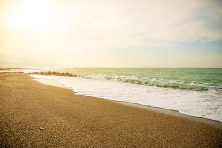 Sea view from beach of Capo di Orlando with its beaches on the north coast of Sicily in Italy Foto de archivo - 119250165