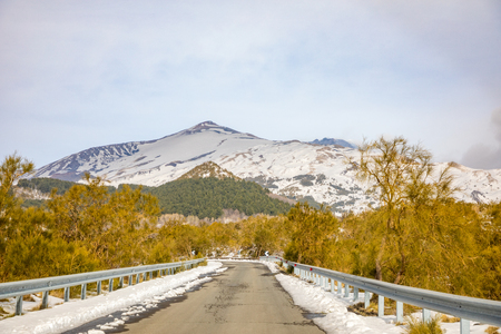 Road to volcano and snow covered Etna Mount, Sicily in Italy 版權商用圖片
