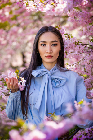 Beautiful young asian woman in blooming cherry blossoms garden in Prague Foto de archivo - 121435844