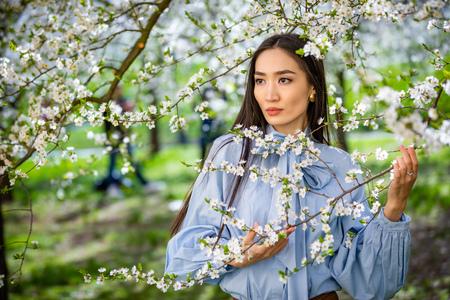 Beautiful young asian woman in blooming apple blossoms garden in Prague Foto de archivo - 121435855