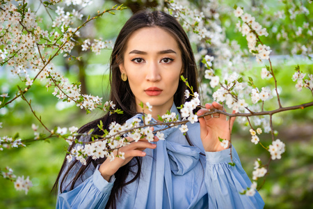 Beautiful young asian woman in blooming apple blossoms garden in Prague Foto de archivo - 121435868