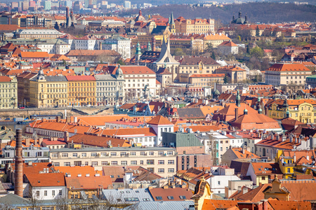 Aerial view of Prague rooftops and skyline from Petrin hill in Prague, Czech Republic Foto de archivo - 121435933