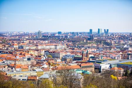 Aerial view of Smichov area in Prague from Petrin hill in Prague, Czech Republic Foto de archivo - 121435960