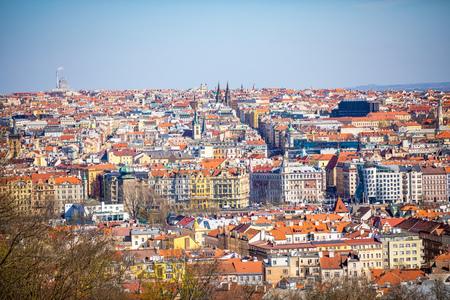 Aerial view of Prague rooftops and skyline from Petrin hill in Prague, Czech Republic Foto de archivo - 121435965