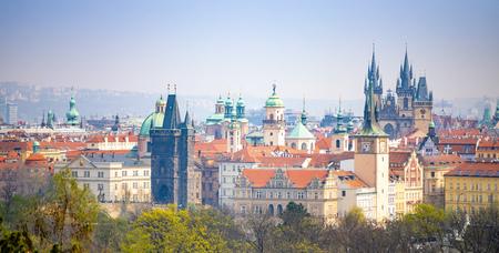 Panorama of Prague rooftops and skyline from Petrin hill in Prague, Czech Republic Foto de archivo - 121436137