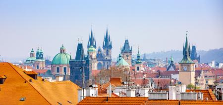 Panorama of Prague rooftops and skyline from Petrin hill in Prague, Czech Republic Foto de archivo - 121436146
