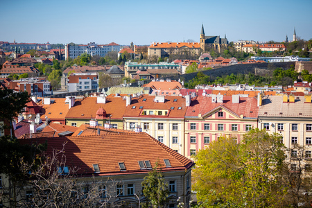 View of Prague Roofs from Vysehrad area in Prague in Czech Republic Foto de archivo - 122019606