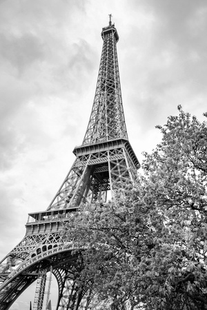 View from the bottom of The Eiffel Tower in Paris in cloudy day in France, in black and white colors Stock Photo