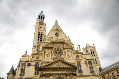 Saint Etienne du Mont Church in Latin Quarter, french gothic church in cloudy day in Paris, France