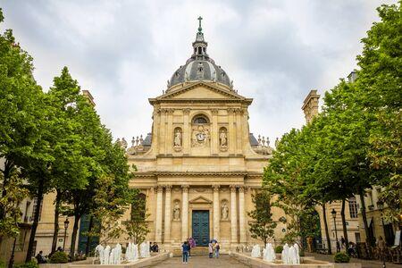 Paris, France - 24.04.2019 : Place de la Sorbonne et Collège de Sorbonne, fondé en 1257 par Robert de Sorbon comme l'un des premiers collèges de l'Université médiévale, Paris, France