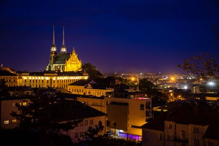 View to the red roofs of Brno city with Cathedral of Saints Peter and Paul. Morawia, Czech Republic, Europe