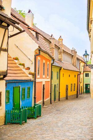Little houses on Golden street inside of Hrandcany Castle in Prague, Czech Republic Stock Photo