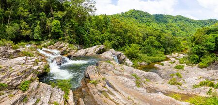 Sister Waterfall Landscape, nature of the southern part of Hainan Province in China Stock Photo