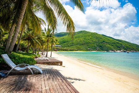 Hyatt resort beach without people next to Sanya bay in Hainan in China
