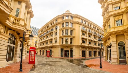 Empty abandoned european quarter look like London in Sanya, Hainan island, China