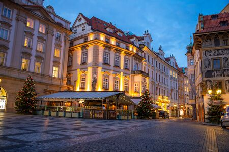 Prague, Czech Republic - 3.12.2019: Christmas city view of the Old Town square in Prague at early morning when all stands are still closed, Czech Republic