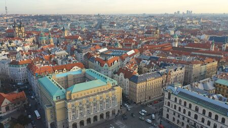Aerial view of Prague Old Town or Stare Mesto in Czech Republic