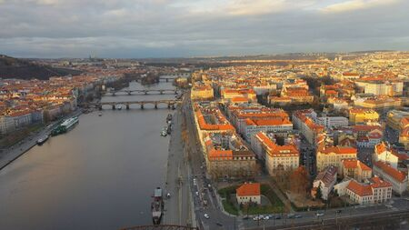 Aerial view of Podskali area under Vysehrad castle at sunset light, beautiful view of Prague in Czech Republic 版權商用圖片