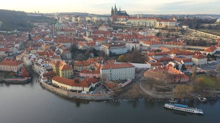 Aerial view of Prague Castle and the Old Town Quarter in Prague, Czech Republic 版權商用圖片