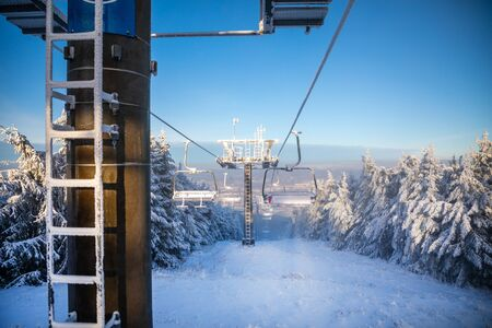 Ski areal Jested in sunny winter day in mountain near Liberec, Czech Republic 版權商用圖片