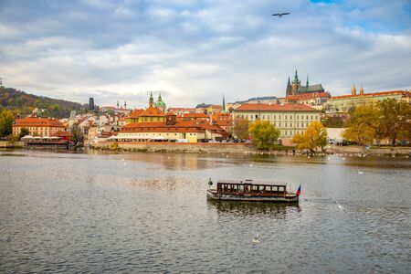 Prague Castle over river Vltava in november day in Prague, Czech Republic