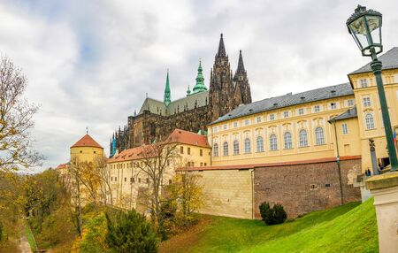 Prague, Czech Republic - 6.11.2019: Saint Vitus Cathedral facade and Prague Castle in Prague in Czech Republic