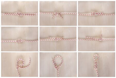 Different sea boat knots on wooden background, boating knot Banco de Imagens - 140093918
