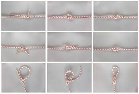 Different sea boat knots on grey background, boating knot Banco de Imagens